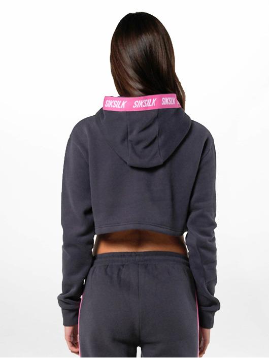 Sik Silk Hoodie Cropped grå