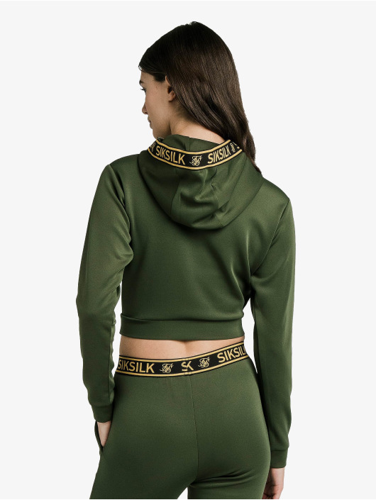 Sik Silk Hoodie Taped Cropped green