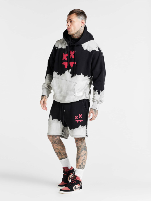 Sik Silk Hoodie X Steve Aoki Oversized Bleach Wash svart