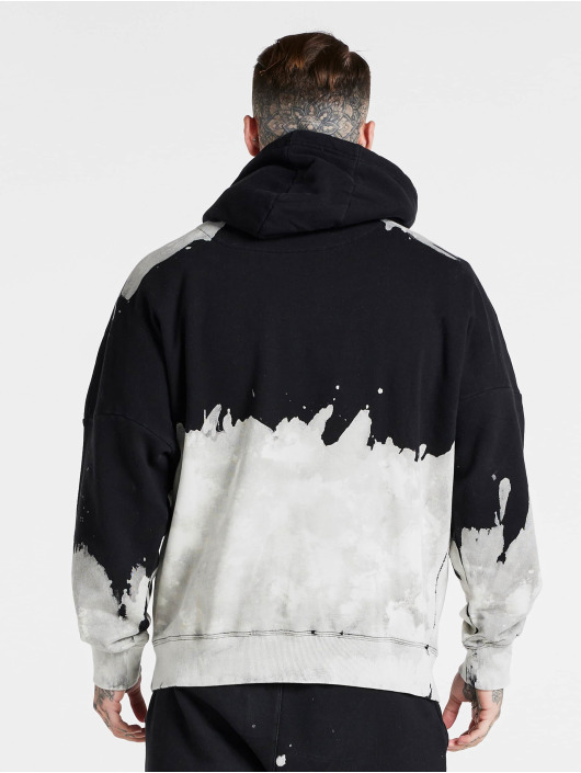 Sik Silk Hoodies X Steve Aoki Oversized Bleach Wash čern
