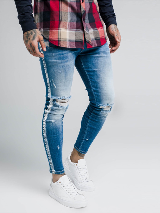 Sik Silk Jean skinny Knee Burst Paint Stripe bleu