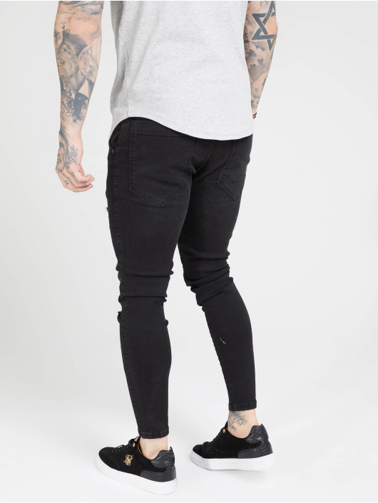 Sik Silk Jean skinny Distresed noir