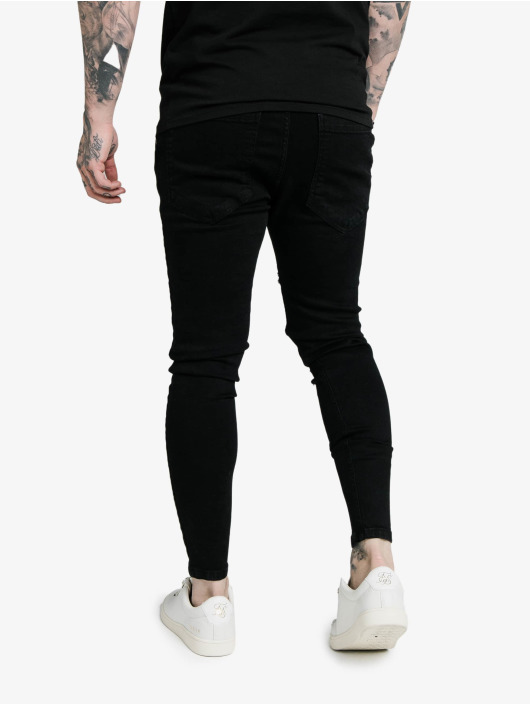 Sik Silk Jean skinny Elasticated Tape Distressed noir