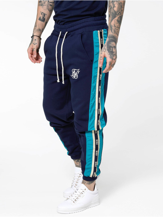 Sik Silk joggingbroek Panel Piped Taped blauw