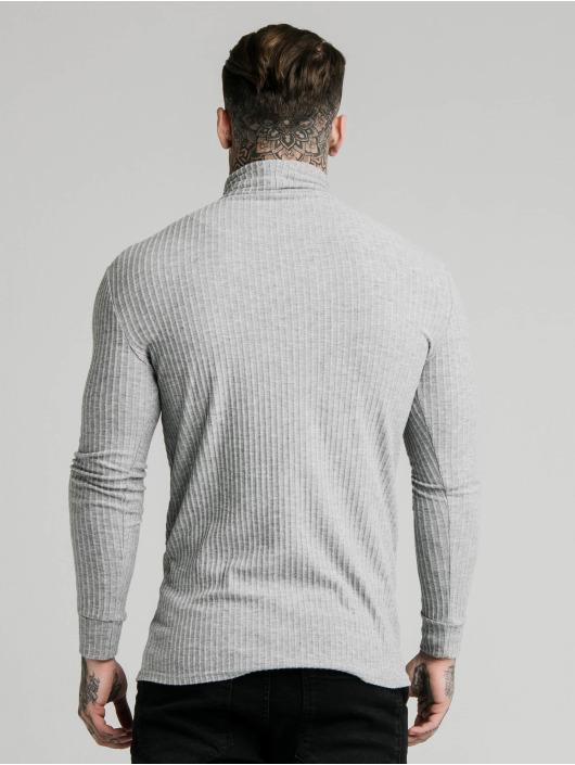 Sik Silk Jumper Brushed Rib Knit Turtle Neck grey