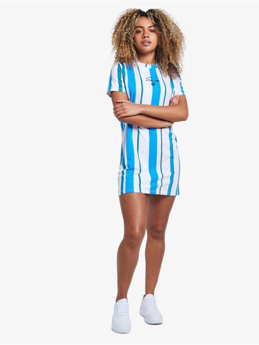 Sik Silk jurk 90's Stripe blauw