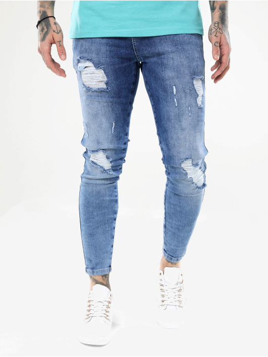 Sik Silk Kapeat farkut Distressed sininen