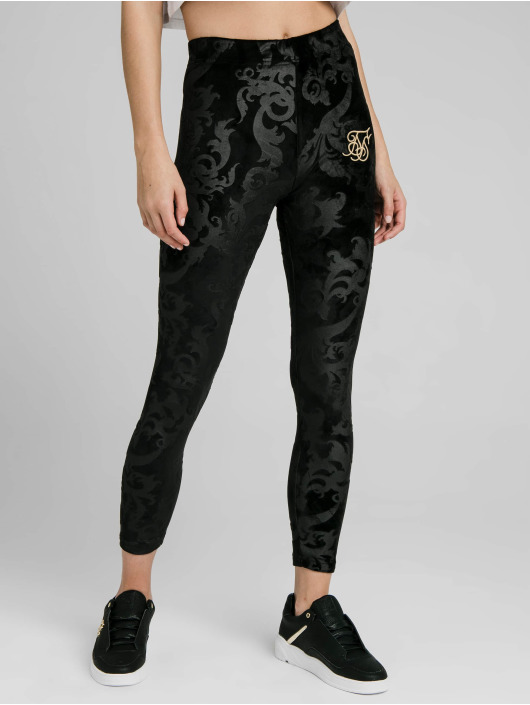 Sik Silk Leggings/Treggings Embossed Velour czarny