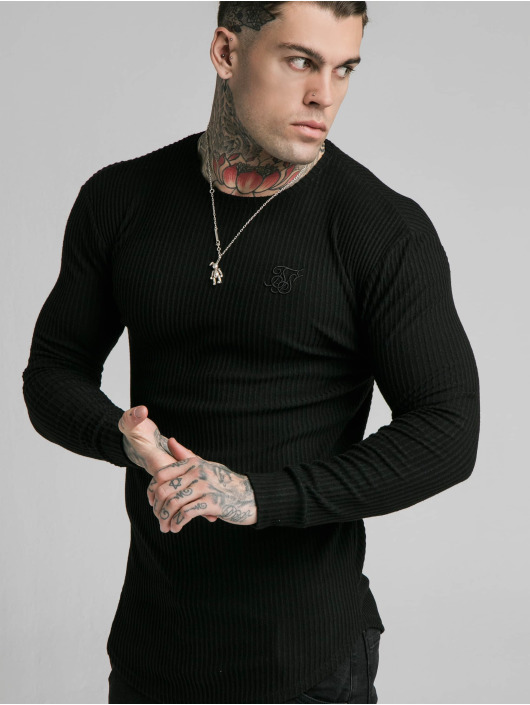 Sik Silk Longsleeve Brushed Rib Knit Gym black