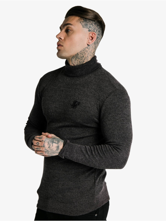 Sik Silk Longsleeve Rib Turtle Neck black