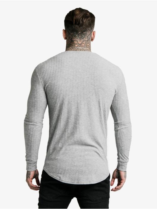 Sik Silk Longsleeve Brushed Rib Knit Gym grau