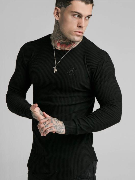 Sik Silk Longsleeve Brushed Rib Knit Gym schwarz