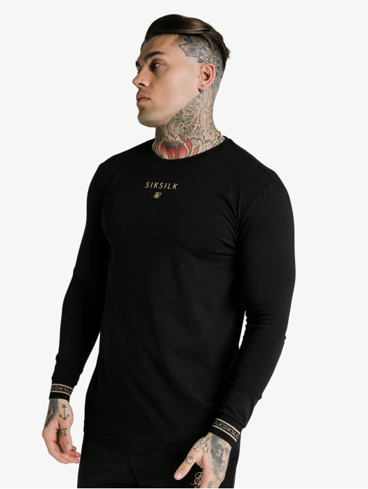Sik Silk Longsleeves Element Hem Gym czarny
