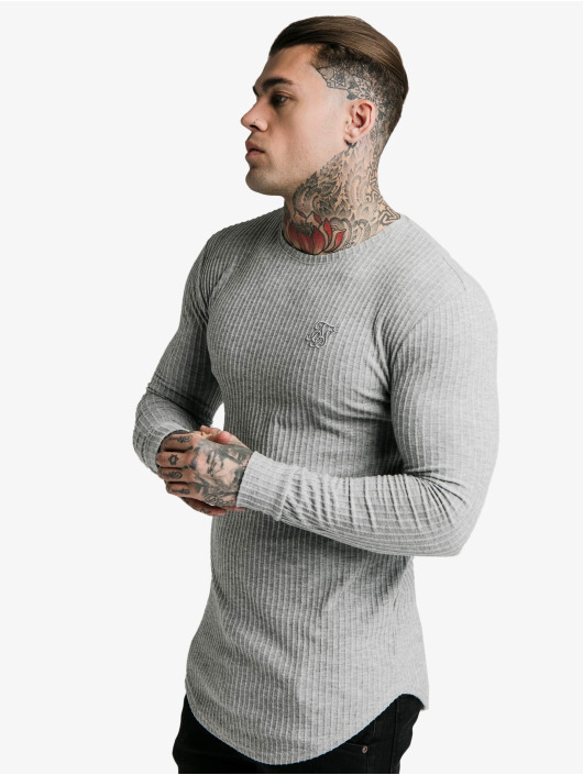 Sik Silk Longsleeves Brushed Rib Knit Gym szary