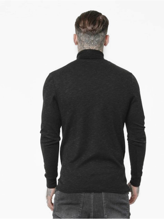 Sik Silk Pullover Poly Slub Turtle Neck black