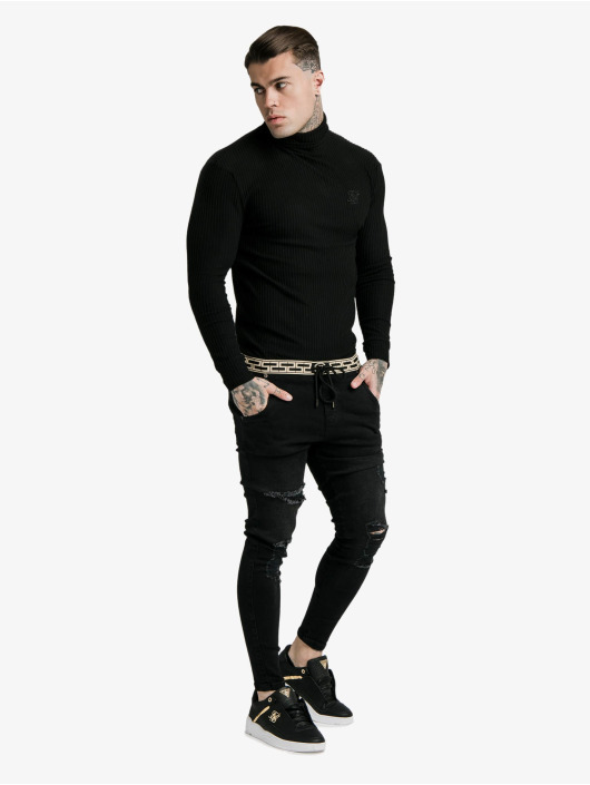 Sik Silk Pullover Brushed Rib Knit Turtle Neck black