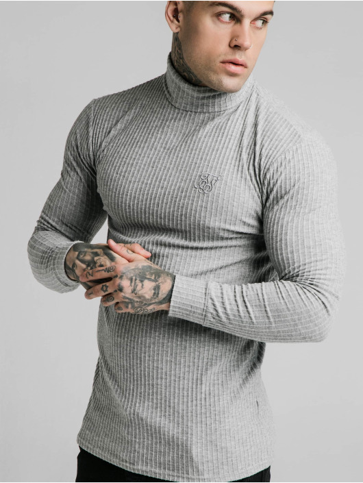 Sik Silk Pullover Brushed Rib Knit Turtle Neck grau