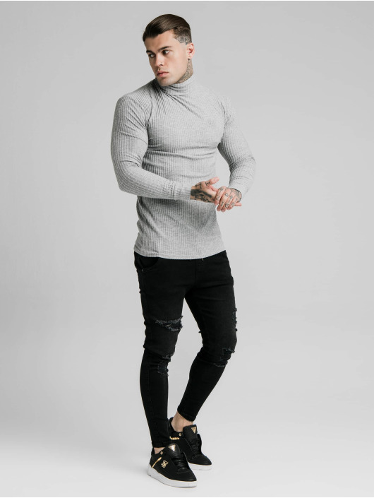 Sik Silk Pullover Brushed Rib Knit Turtle Neck gray
