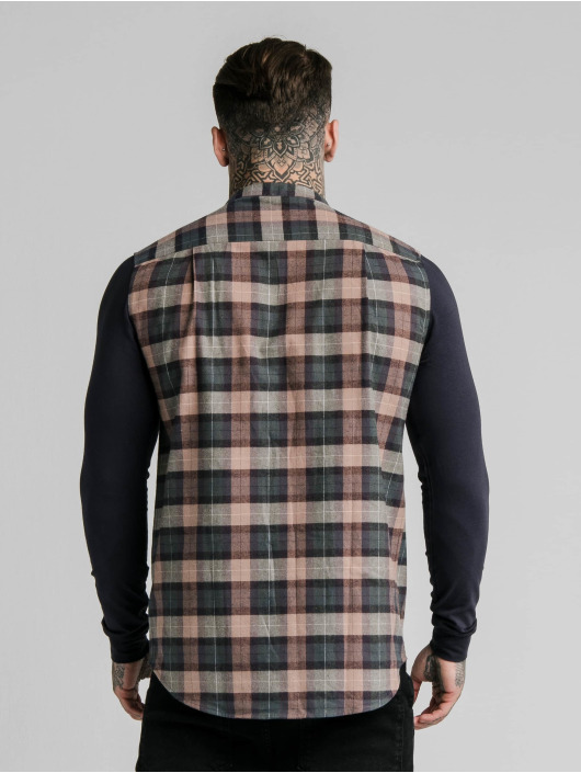 Sik Silk Shirt Flannel Check Grandad blue