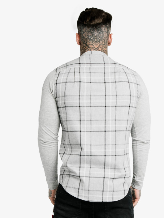 Sik Silk Shirt Flannel Check Grandad grey