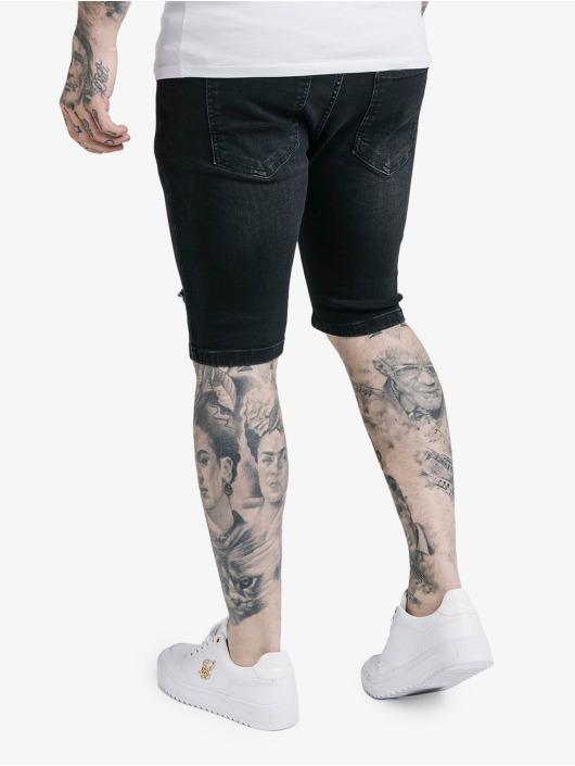 Sik Silk Short Distressed Denim black
