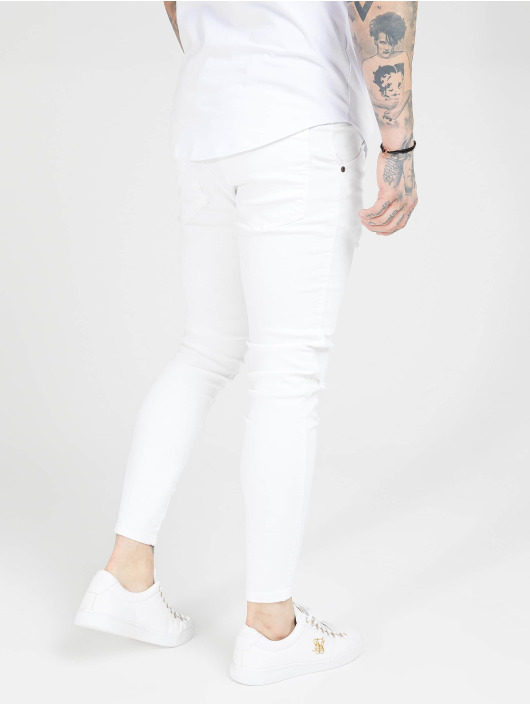 Sik Silk Skinny Jeans Distressed bialy