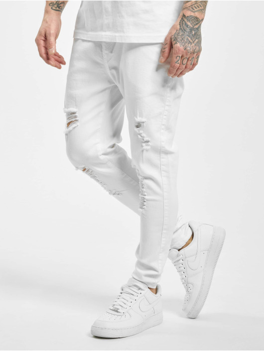 Sik Silk Skinny Jeans Distressed bialy