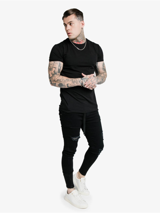 Sik Silk Skinny Jeans Elasticated Tape Distressed black