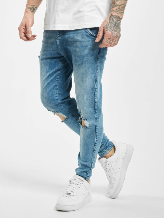 Sik Silk Skinny Jeans Distressed Slice Knee Denims blau