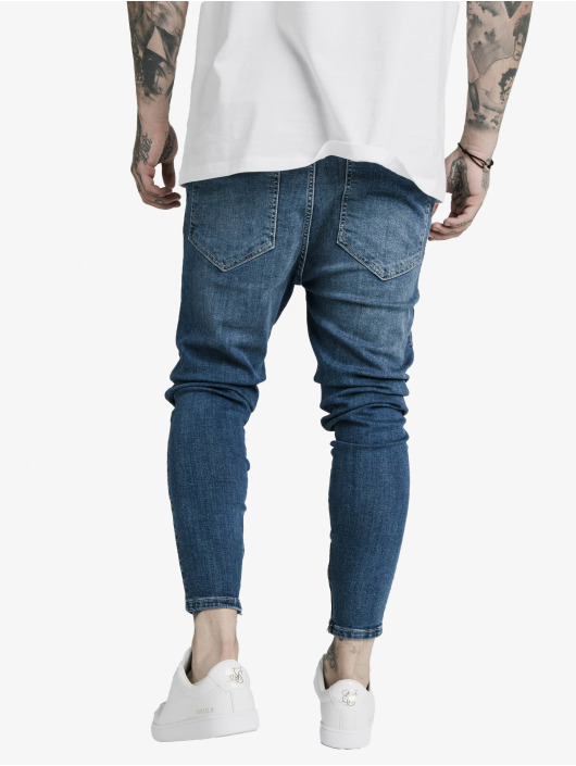 Sik Silk Skinny Jeans Drop Crotch blau