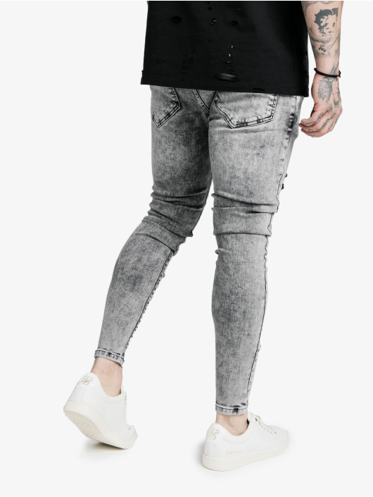 Sik Silk Skinny Jeans Elasticated Tape Distressed blau