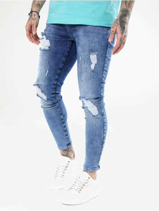 Sik Silk Skinny jeans Distressed blauw
