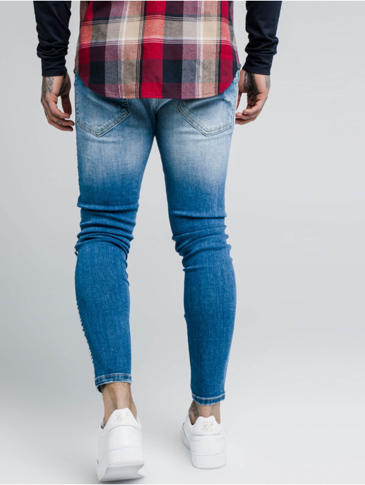 Sik Silk Skinny Jeans Knee Burst Paint Stripe blue
