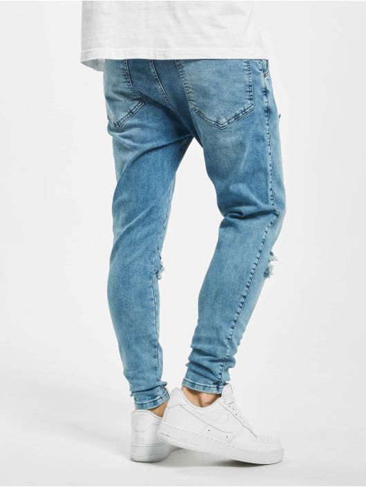 Sik Silk Skinny Jeans Distressed Slice Knee Denims blue