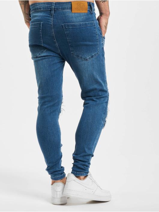 Sik Silk Skinny Jeans Raw Hem Biker blue