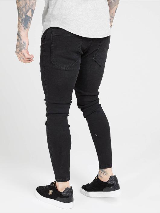 Sik Silk Skinny Jeans Distressed czarny