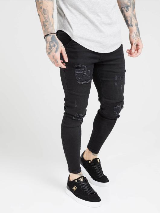 Sik Silk Skinny Jeans Distresed czarny