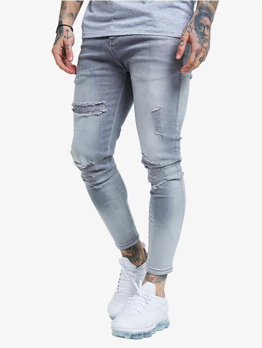 Sik Silk Skinny Jeans Distressed grå