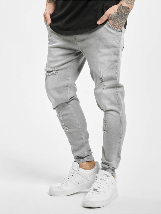 Sik Silk Skinny Jeans Elasticated Distressed grau