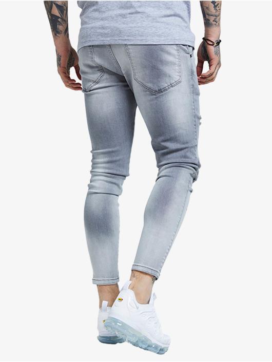 Sik Silk Skinny jeans Distressed grijs
