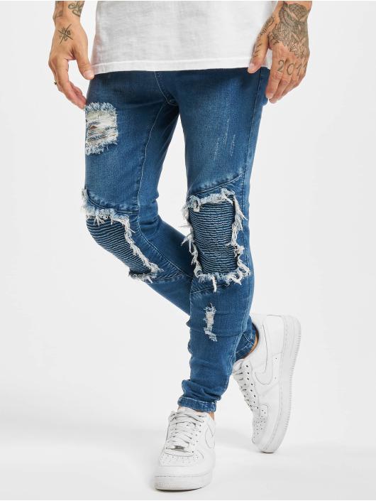 Sik Silk Skinny Jeans Raw Hem Biker modrý