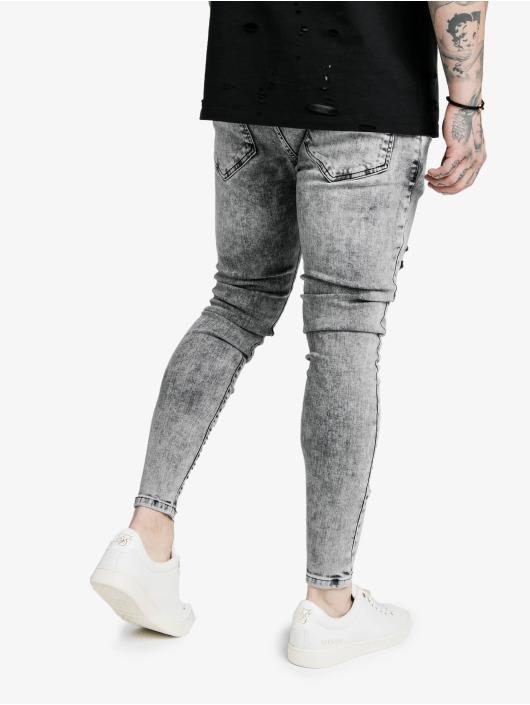 Sik Silk Skinny Jeans Elasticated Tape Distressed niebieski