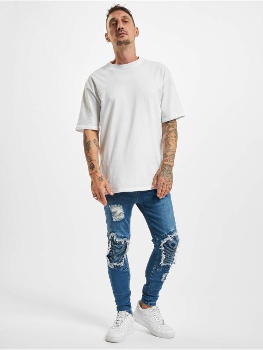 Sik Silk Skinny Jeans Raw Hem Biker niebieski