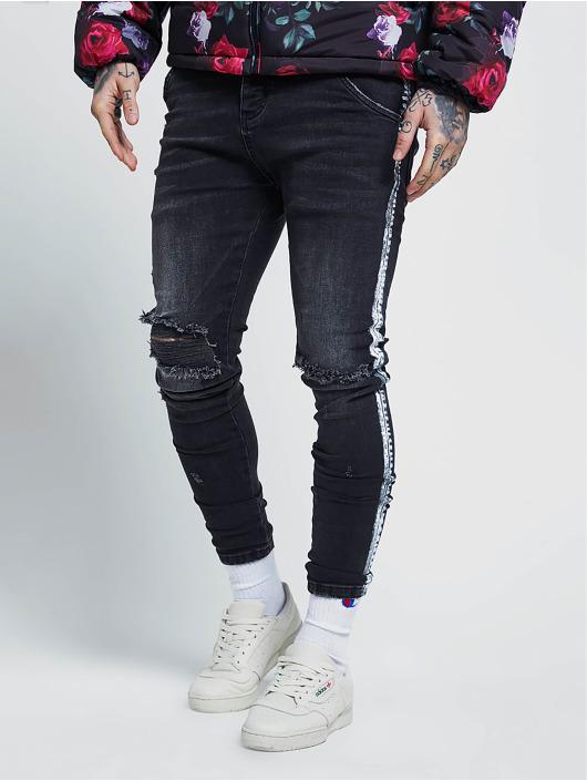 Sik Silk Skinny Jeans Paint Stripe schwarz
