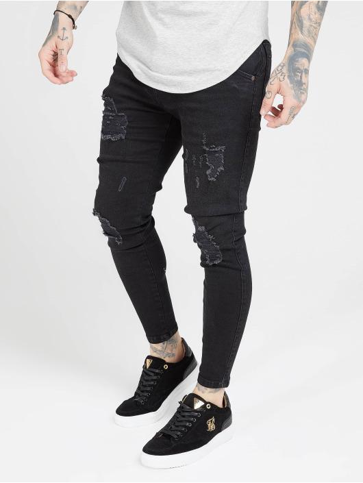 Sik Silk Skinny jeans Distressed zwart