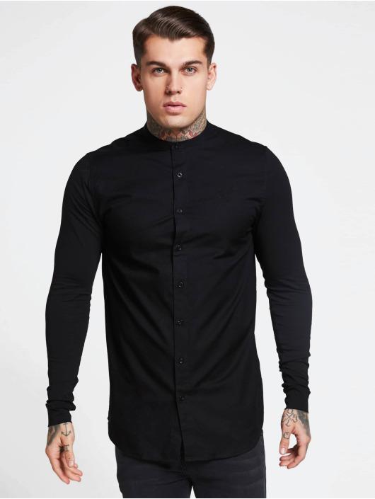Sik Silk Överdel   Skjorta Grandad Collar Jersey i svart 620783 1921871420ae4