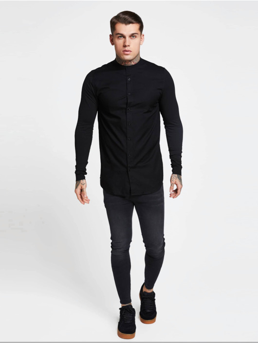 Sik Silk Skjorter Grandad Collar Jersey svart