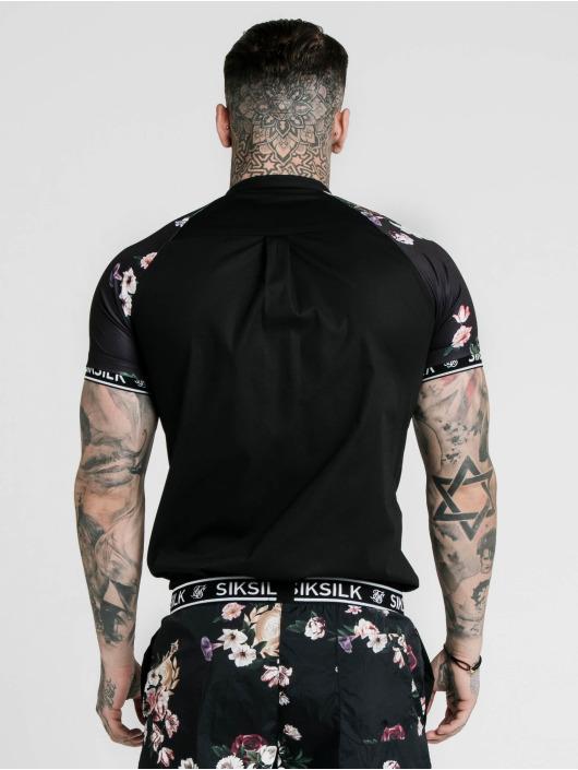 Sik Silk Skjorter Grandad Jersey Sleeve svart