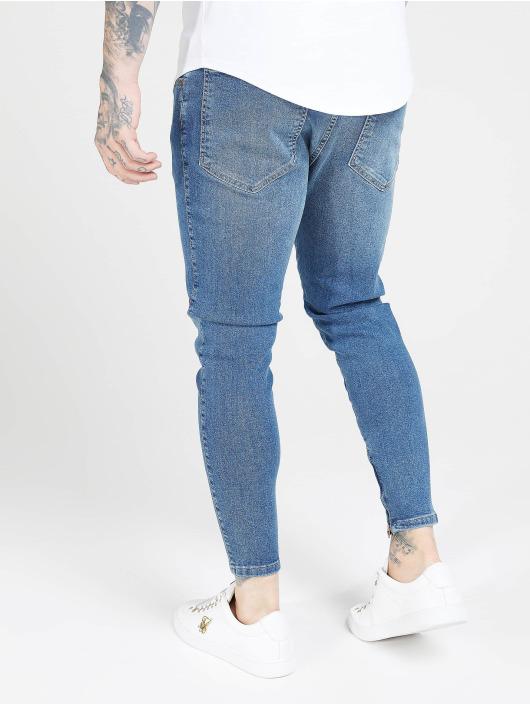 Sik Silk Slim Fit Jeans Drop Crotch blå