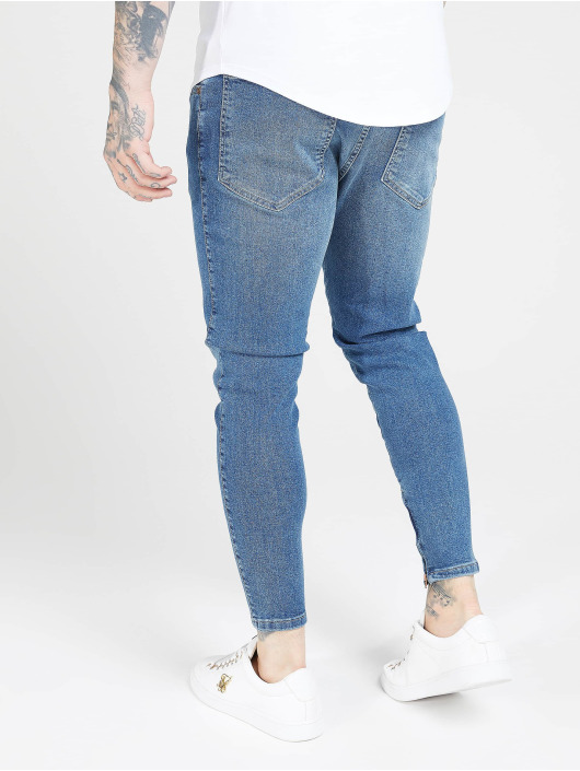 Sik Silk Slim Fit Jeans Drop Crotch blau